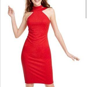Bebe Glitter Crepe Midi Halter Dress